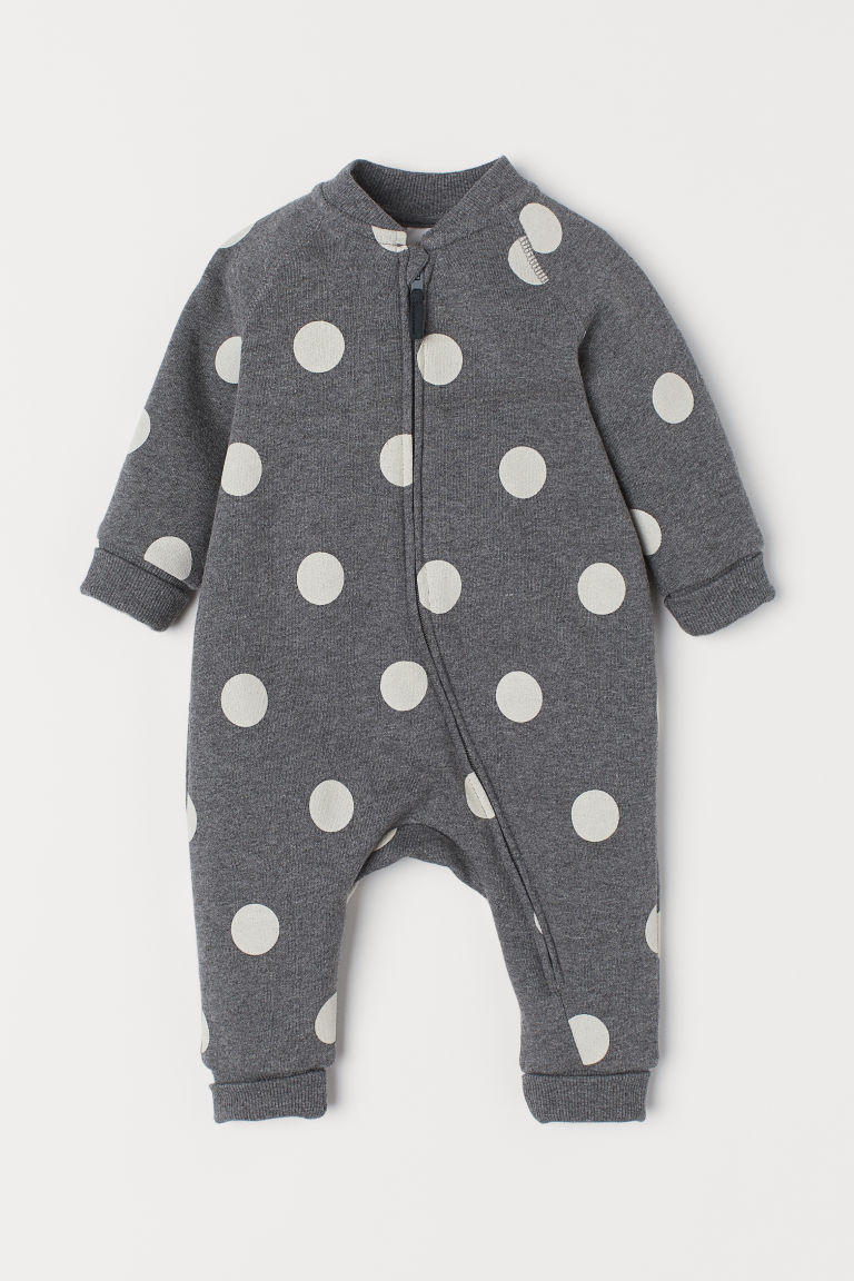 Sweatshirt all-in-one suit - Grey marl/Spotted - Kids | H&M