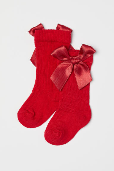 Knee socks with a bow - Red - Kids | H&M