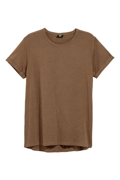 Slub jersey T-shirt - Brown - Men | H&M GB