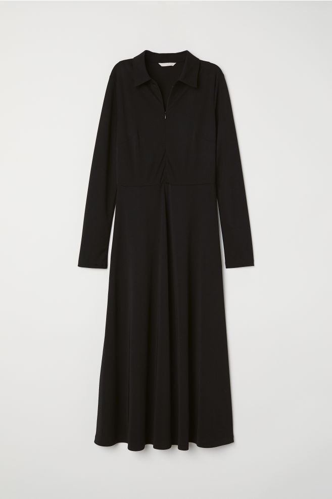 0c5d7701641e96 Jersey Dress with Collar - Black - Ladies | H&M ...