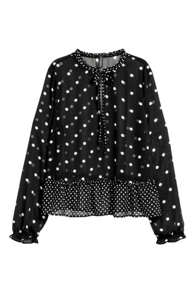 Chiffon blouse - Black/Spotted -  | H&M GB