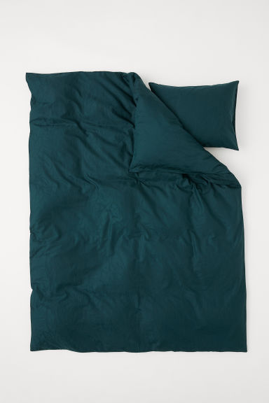 Cotton satin duvet cover set - Dark green/Leaf-patterned - Home All | H&M CN