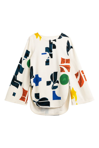 Patterned sweatshirt - Natural white/Multicoloured - Ladies | H&M