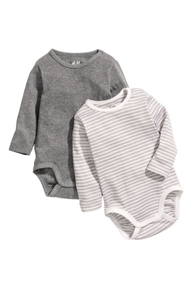 2-pack long-sleeved bodysuits - Dark grey/Striped - Kids | H&M