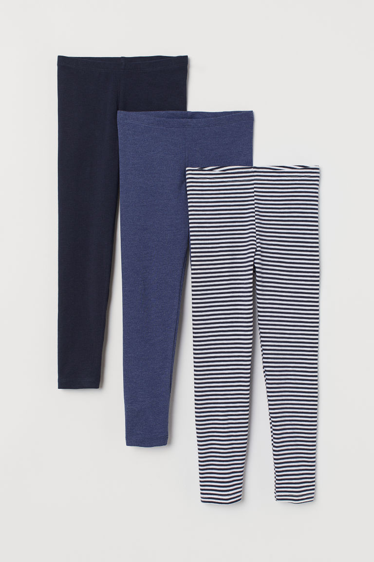 3-pack jersey leggings - Blue/Striped - Kids | H&M