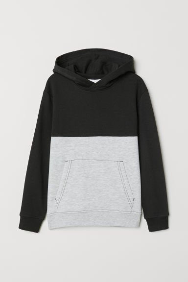 Hooded top - Black/Light grey marl - Kids | H&M IE