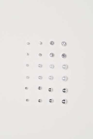 12 pairs earrings - Silver-coloured/White - Ladies | H&M