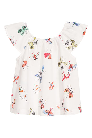 Patterned cotton blouse - White/Butterflies - Kids | H&M CN