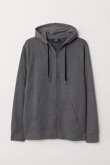 Hooded jacket Regular Fit - Dark grey marl - Men | H&M
