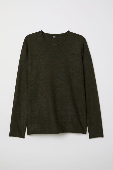 Fine-knit jumper - Dark green marl - Men | H&M