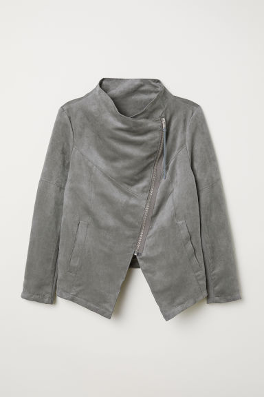 H&M+ Biker jacket - Light grey - Ladies | H&M CN
