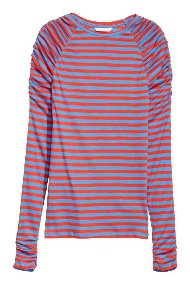 Long-sleeved jersey top - Orange/Blue striped -  | H&M