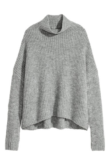 Knitted wool-blend jumper - Light grey -  | H&M