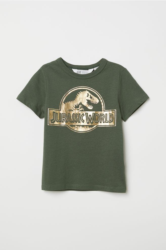 6f7e793e2 T-shirt with Printed Motif - Dark green/Jurassic World - Kids | H&M US
