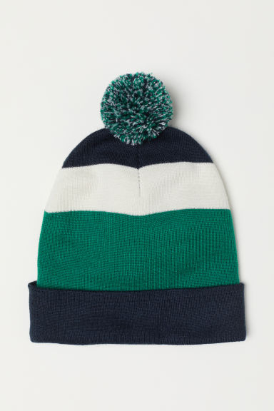 Fine-knit hat - Dark blue/Green - Men | H&M