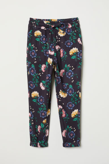 Viscose pull-on trousers - Dark purple/Floral - Kids | H&M