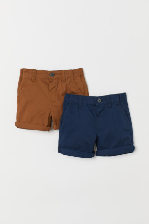 2-Pack Shorts in Baumwolltwill