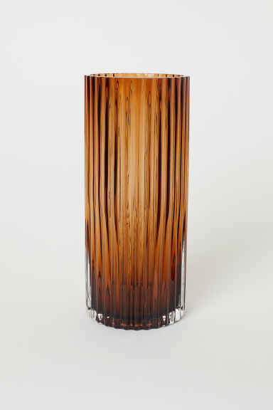 Fluted Glass Vase - Brown - Home All | H&M CA