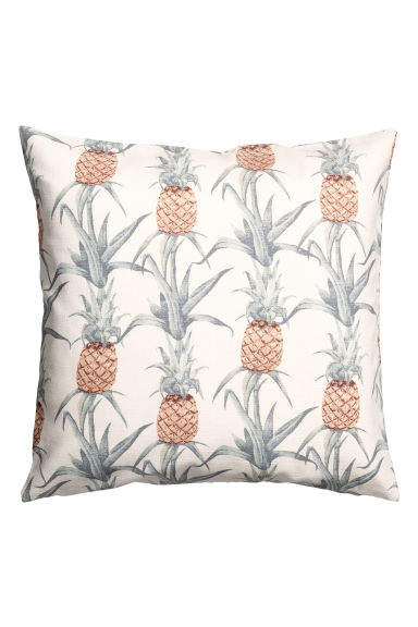 Patterned cushion cover - White/Pineapple - Home All | H&M IE