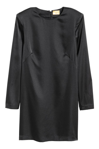Short satin dress - Black -  | H&M