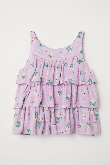 Frilled blouse - Light purple/Floral - Kids | H&M