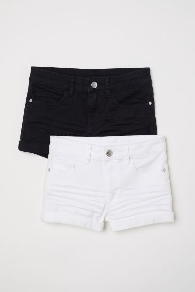 2-pack twill shorts - Black/White -  | H&M