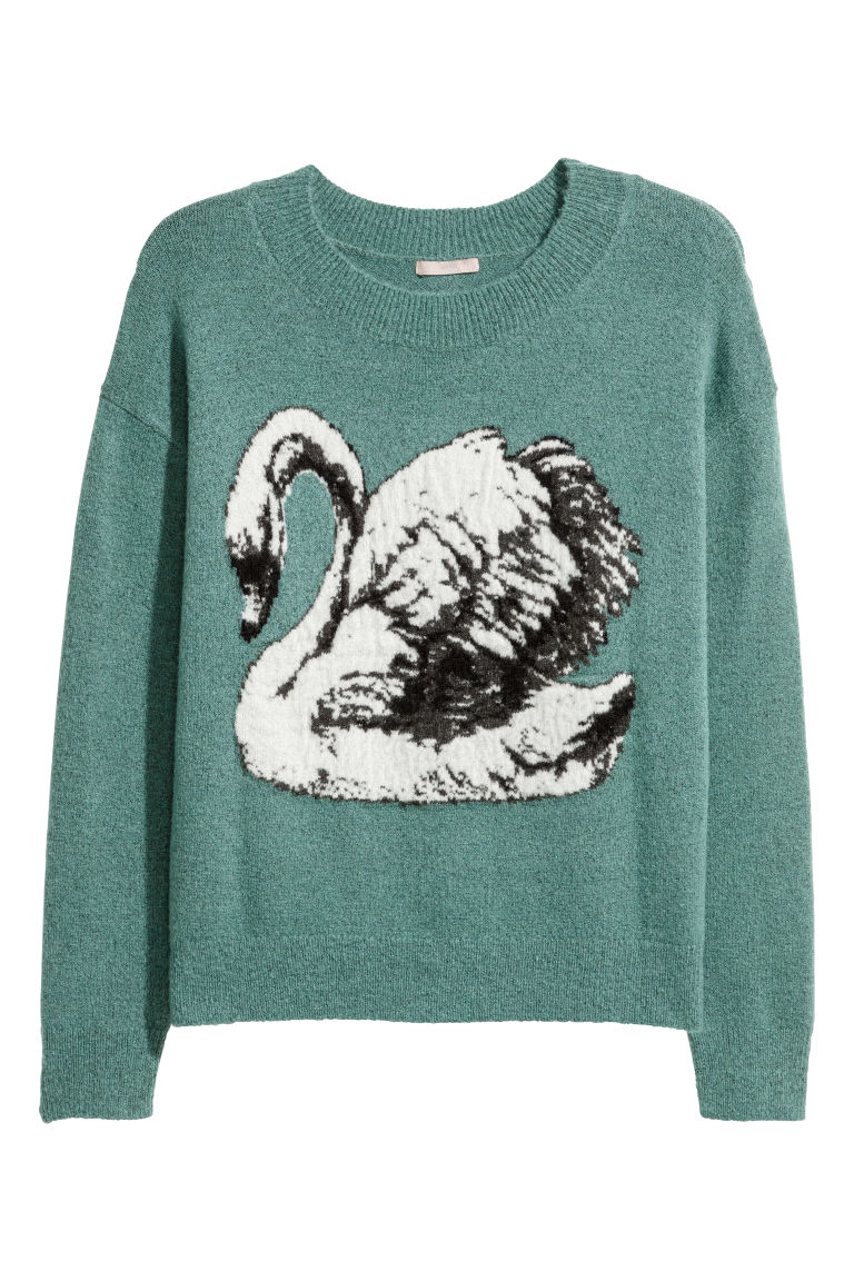 H&M+ Knitted jumper - Turquoise/Swan - Ladies | H&M