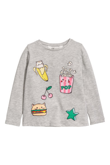 Printed jersey top - Light grey/Popcorn - Kids | H&M