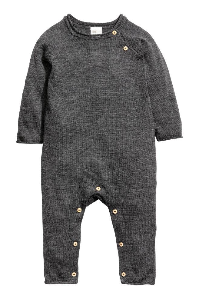 372613529e9e Merino wool all-in-one suit - Dark grey - Kids