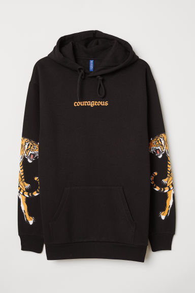 Hooded top - Black/Courageous - Men | H&M