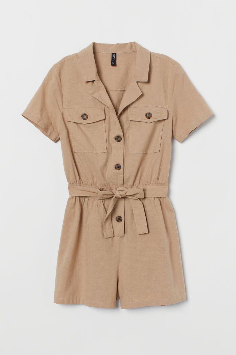 Cotton Romper - Beige - Ladies | H&M CA