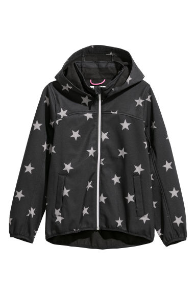 Hooded softshell jacket - Black/Stars -  | H&M