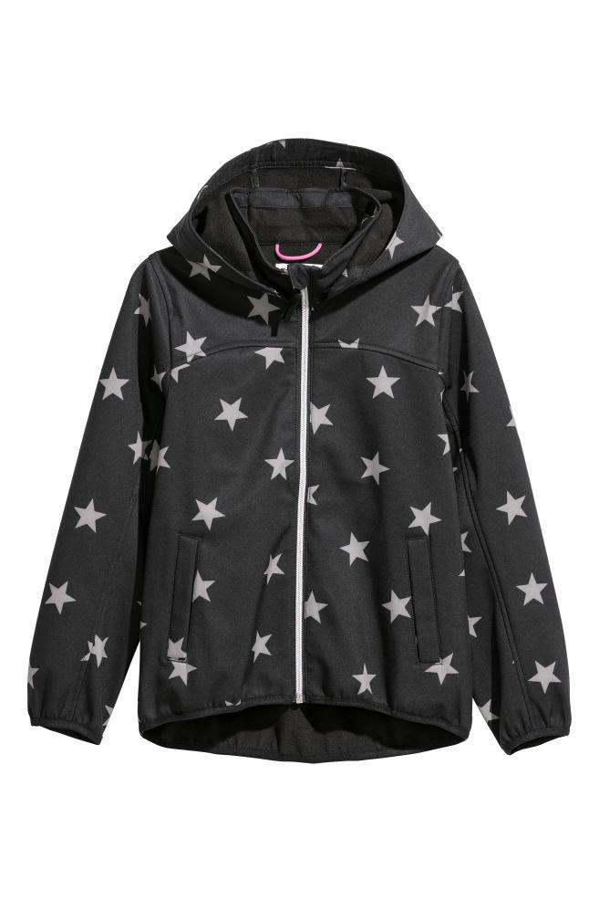 b5e531d1f36b Softshellová bunda s kapucňou - čierna hviezdy - DETI