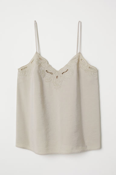 Top con ricami - Beige - DONNA | H&M IT