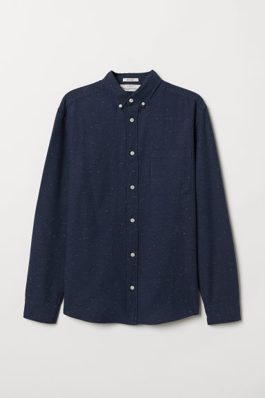 Camicia in cotone Regular fit - Blu scuro mélange - UOMO | H&M IT