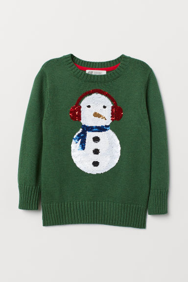 Fine-knit jumper - Green/Snowman - Kids | H&M CN