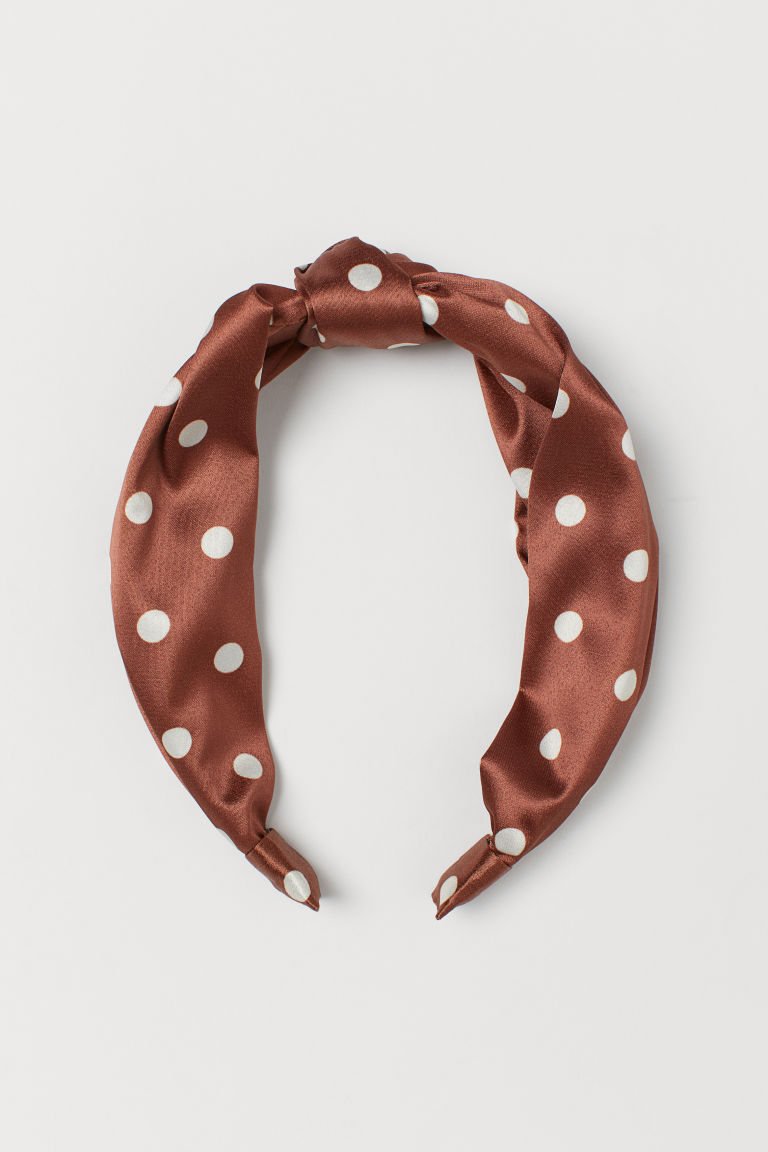 Alice band with a knot - Brown/White spotted - Ladies | H&M CN