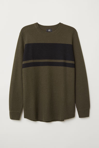 Textured-knit jumper - Khaki green/Black - Men | H&M