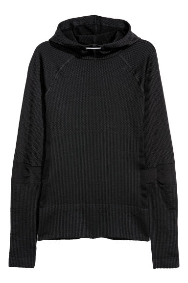 Seamless hooded top - Black -  | H&M CN