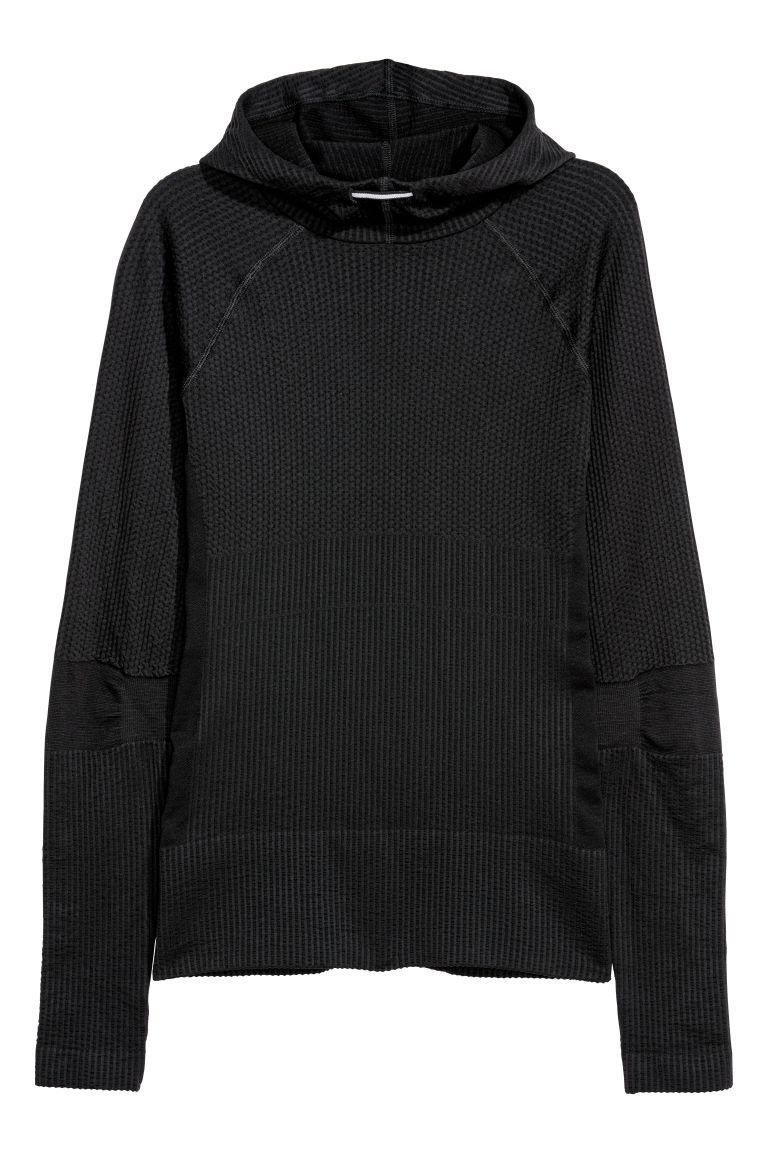 Seamless hooded top - Black - Ladies | H&M CN