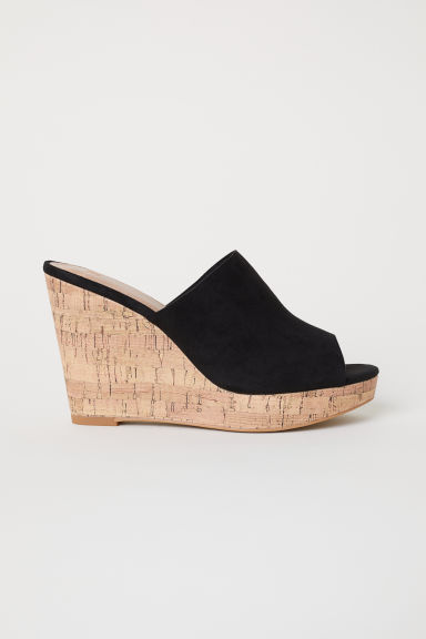 Sandali slip-on con zeppa - Nero - DONNA | H&M IT