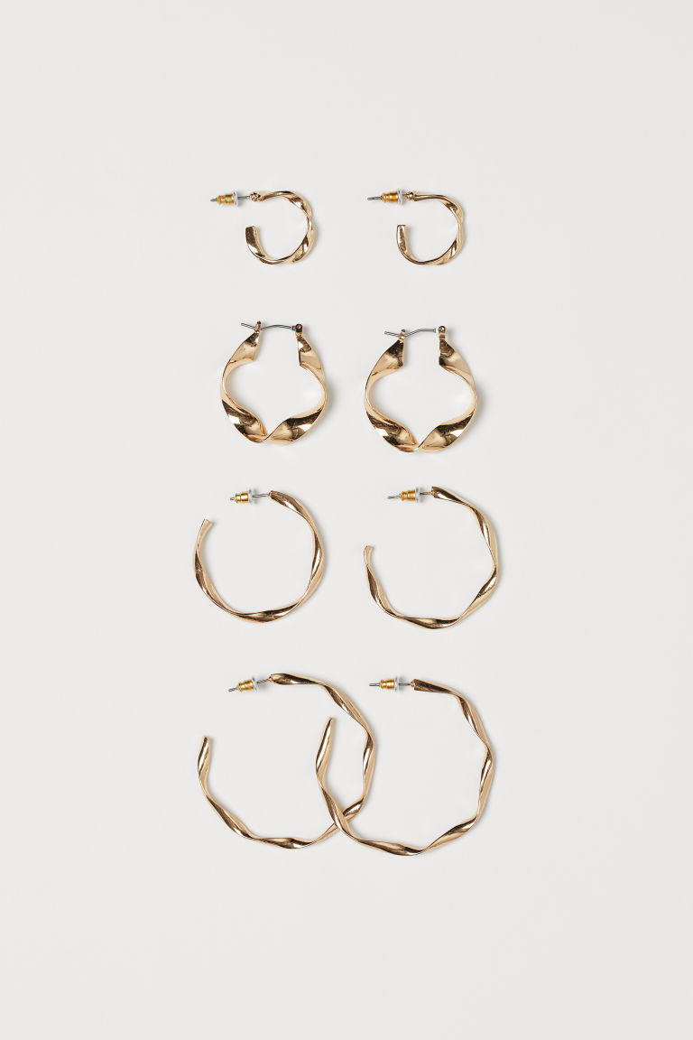 4 Pairs Hoop Earrings - Gold-colored - Ladies | H&M CA