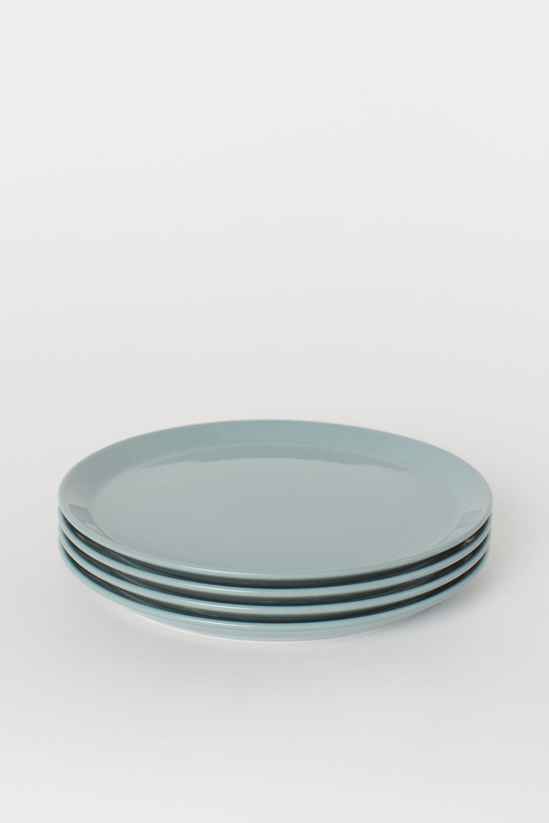 4-pack ceramic plates - Dusky green - Home All | H&M CN