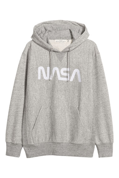 Sweat-shirt à capuche - Gris chiné/NASA - HOMME | H&M BE