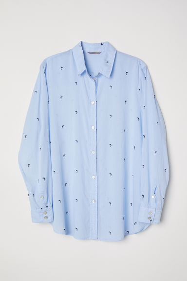 H&M+ Cotton shirt - Light blue/Dolphins - Ladies | H&M