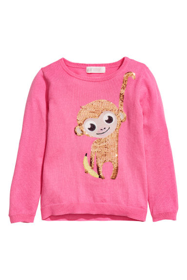 Knitted jumper with a motif - Cerise/Monkey - Kids | H&M CN