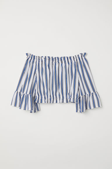 Short off-the-shoulder blouse - White/Blue striped - Ladies | H&M CN