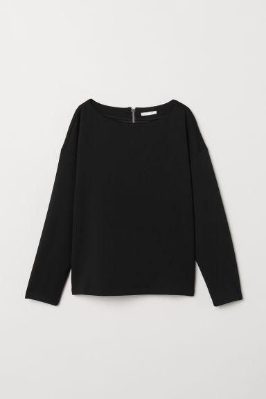 Boat-necked jersey top - Black - Ladies | H&M CN