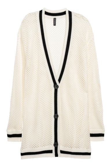 Hole-knit cardigan - White -  | H&M