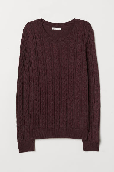 Cable-knit jumper - Burgundy marl - Ladies | H&M